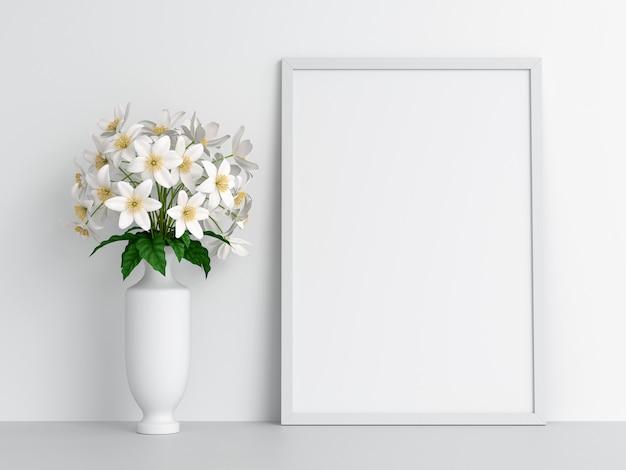 Cadre photo vierge pour maquette et fleur