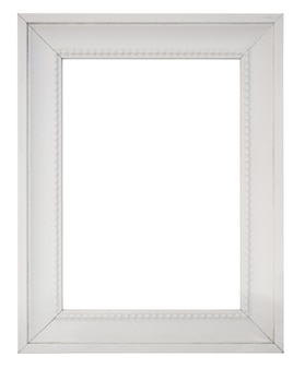 Cadre photo vintage blanc blanc isolé sur fond blanc