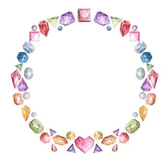 Cadre de pierres précieuses multicolores et de cristaux