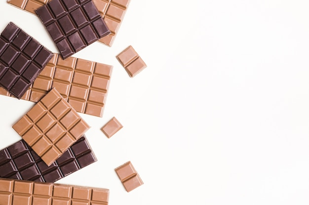 Cadre plat en chocolat avec espace de copie
