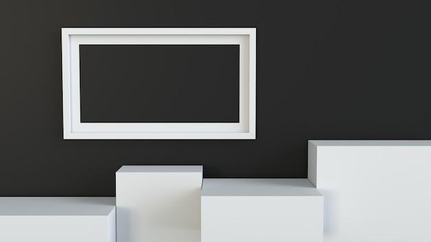 Cadre avec podium de cube blanc sur fond de mur blanc
