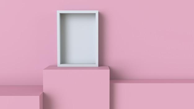 Cadre avec podium cube rose pastel sur fond de mur blanc