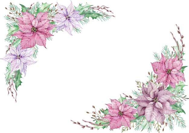 Cadre de poinsettia aquarelle coin rose avec des feuilles vertes, des branches de pin et de genévrier isolés sur blanc