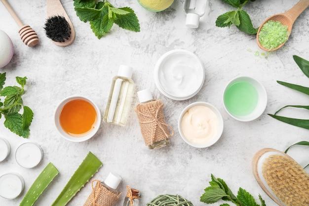 Cadre de produits cosmétiques naturels