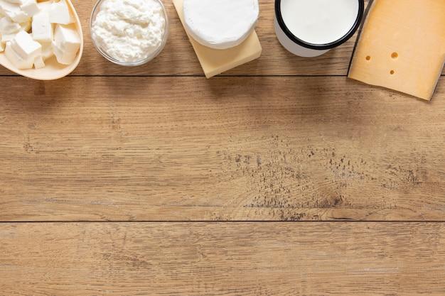Cadre de produits laitiers avec copie-espace