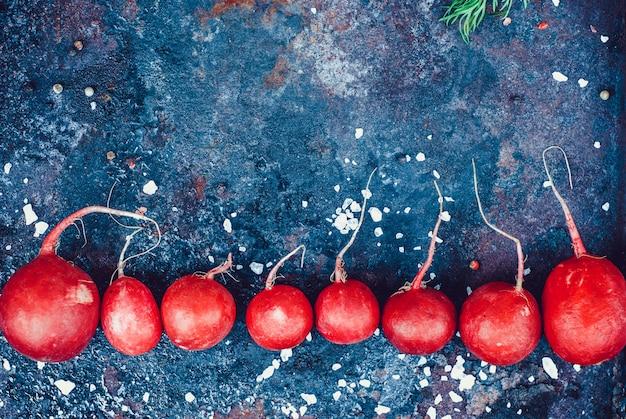 Cadre de radis frais de printemps avec du sel sur fond rustique foncé