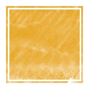 Cadre rectangulaire aquarelle dessiné main orange clair