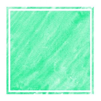 Cadre rectangulaire aquarelle dessiné main turquoise