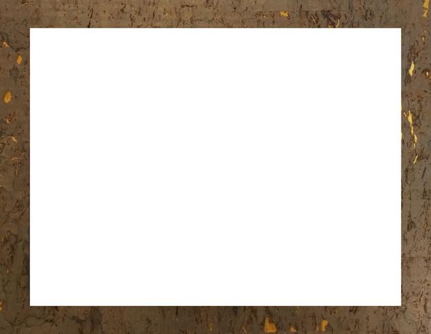 Cadre rectangulaire blanc sur fond en bois doré