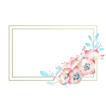 Cadre rectangulaire doré avec des fleurs d'hellébore rose aquarelle