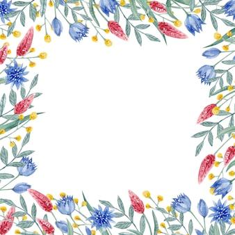Cadre romantique de feuilles et de fleurs d'aquarelle cadre carré vintage de bleuet avec des herbes et des feuilles