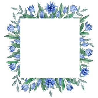 Cadre romantique de feuilles et de fleurs à l'aquarelle cadre carré vintage avec des fleurs et des feuilles d'herbes