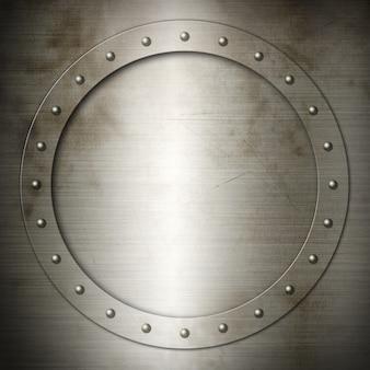 Cadre rond en acier brossé ancien