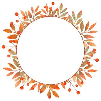 Cadre rond aquarelle automne fait de feuilles