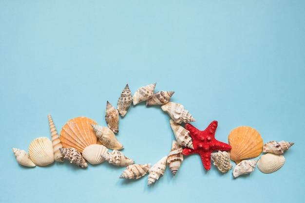 Cadre rond avec coquillages et étoile de mer rouge sur une mer bleue avec espace de copie.