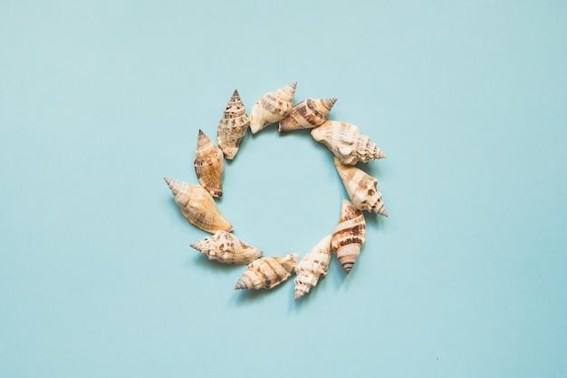 Cadre rond avec coquillages sur la mer bleue avec espace de copie