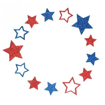 Cadre rond d'étoiles scintillantes aux couleurs du drapeau américain.