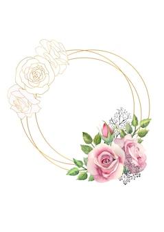 Cadre rond en or avec une aquarelle de fleurs