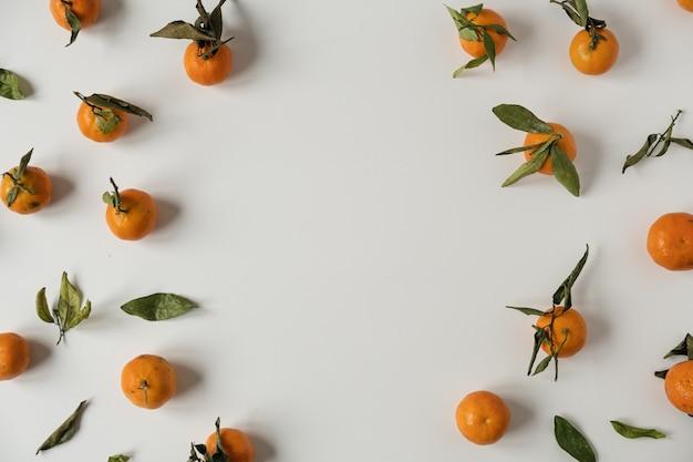 Cadre rond avec des oranges crues, des fruits de mandarines avec motif de feuilles vertes sur blanc