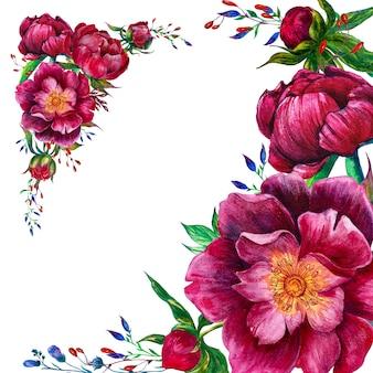 Cadre rond avec pivoines aquarelles et fleurs graphiques
