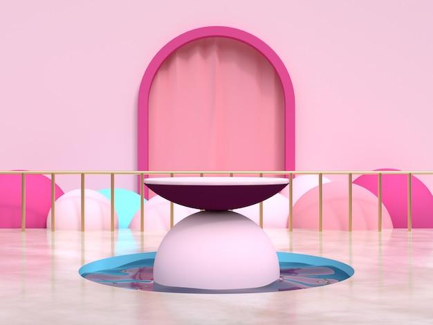 Cadre rose rideau scène géométrique étang d'eau podium ensemble rendu 3d