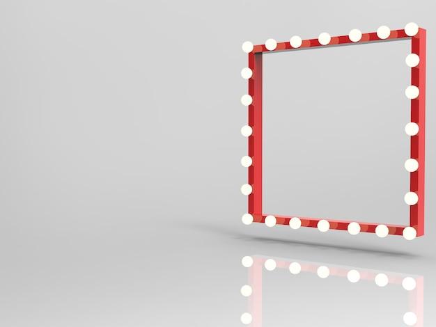 Cadre rouge rendu 3d avec ampoules surround