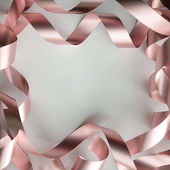 Cadre serpentin métallique sur fond blanc. illustration 3d