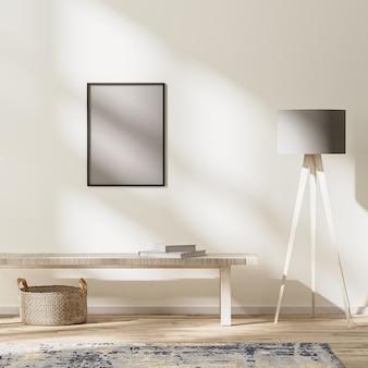 Cadre simulé dans un intérieur de vie moderne, pièce lumineuse avec rayons de soleil, maquette murale, rendu 3d