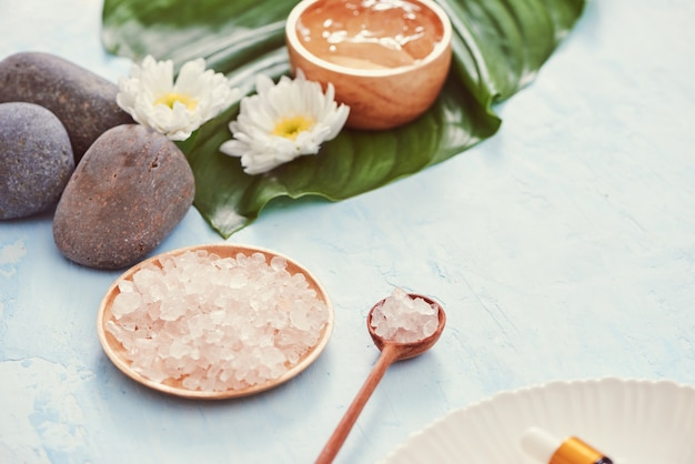 Cadre de spa avec crème cosmétique, gel, sel de bain et feuilles de fougère sur fond bleu
