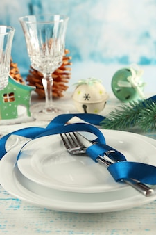 Cadre de table de vacances avec décoration de noël et surface lumineuse
