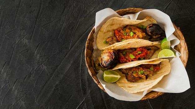 Cadre tacos avec copie-espace