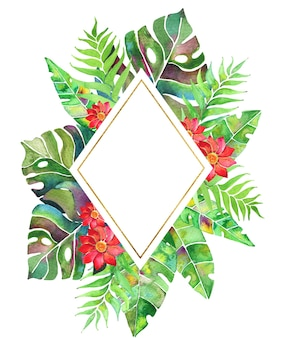 Cadre tropical aquarelle avec feuilles de palmier, monstera et fleurs
