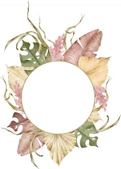 Cadre tropical bohème. illustration exotique aquarelle. modèle d'or pour votre texte.