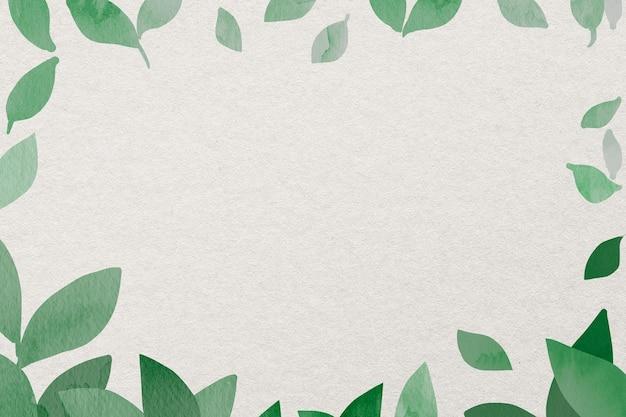 Cadre de verdure en vert aquarelle