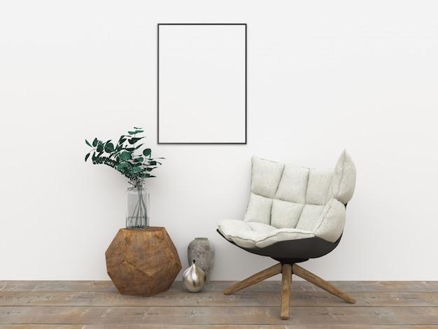 Cadre vertical - illustration intérieure 3d