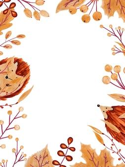 Cadre vertical rectangle composé de feuilles et de hérissons
