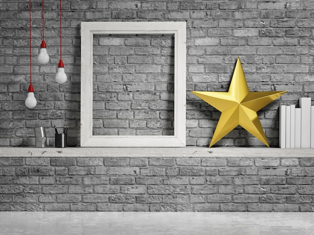 Cadre vide avec étoile de décoration dorée sur fond de briques grises