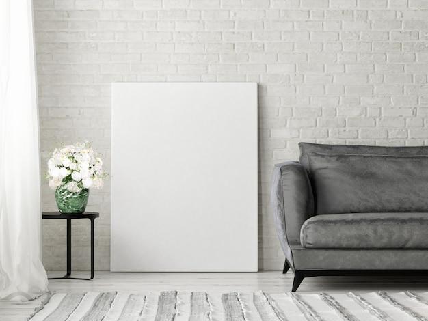 Cadre vide sur fond de brique blanche dans la salle de séjour