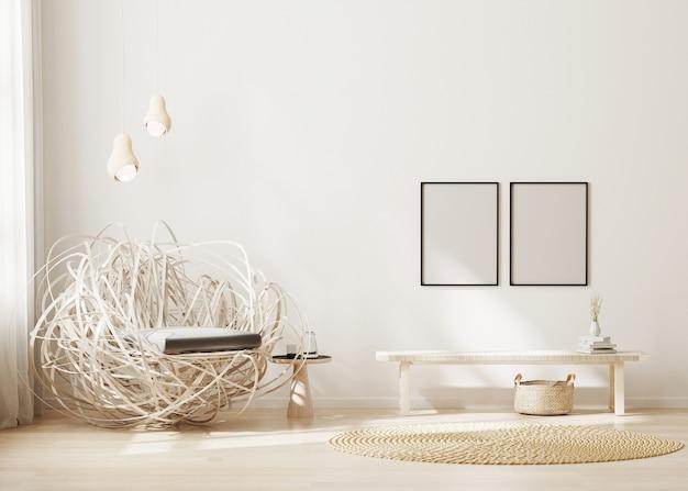 Cadre vide en fond intérieur moderne salon beige clair avec fauteuil élégant