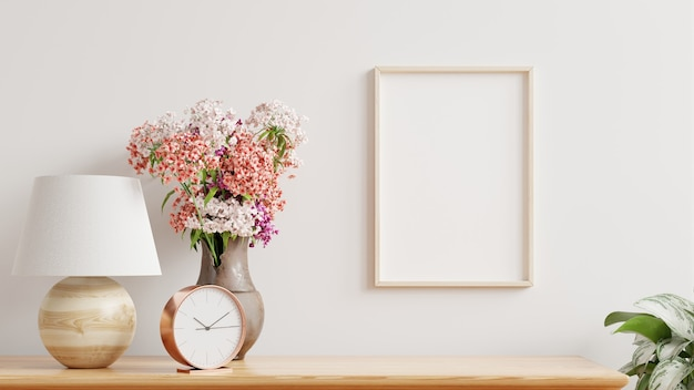 Cadre vide sur le mur à l'intérieur du salon, style scandinave, rendu 3d