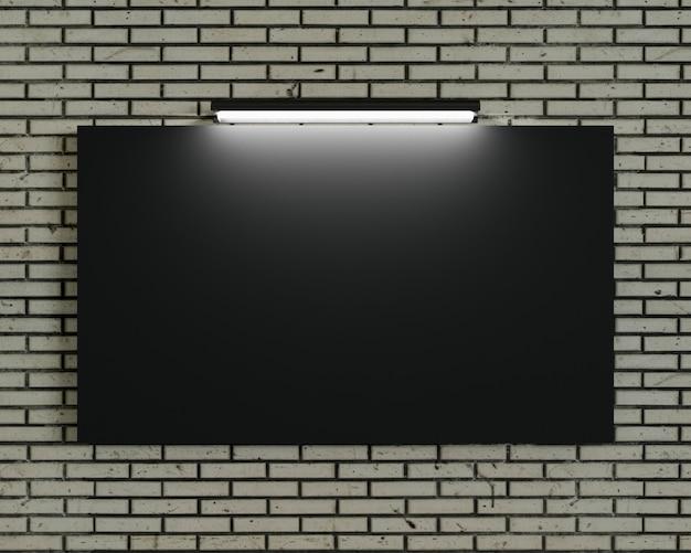 Cadre vide noir sur le mur de briques. fond blanc et conception de bannière. textile et tissu du concept de bannière publicitaire ou arrière-plan d'affichage des médias. illustration de rendu 3d.