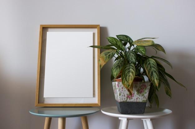 Cadre vide avec plantes décoratives
