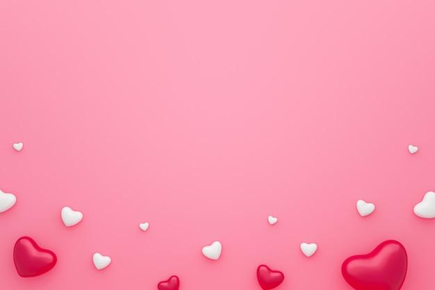 Cadre vierge et motif coeurs sur fond rose avec happy valentine day. beau style mini coeur. rendu 3d.