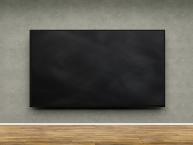 Cadre vierge noir de rendu 3d accroché au mur