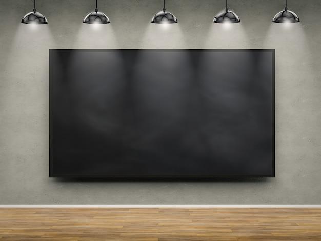 Cadre vierge noir de rendu 3d avec suspensions suspendues