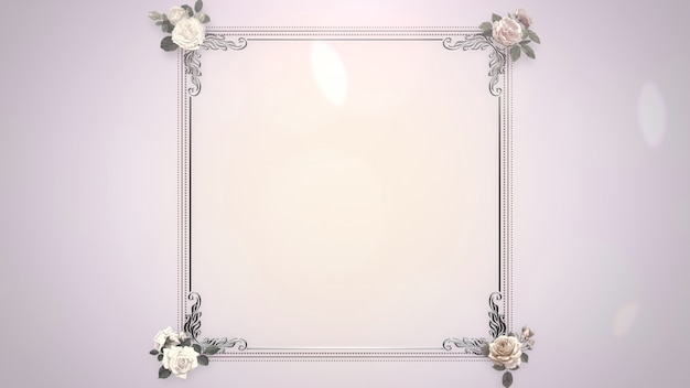 Cadre vintage gros plan avec des fleurs, fond de mariage. illustration 3d de style pastel élégant et luxueux