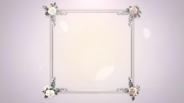 Cadre Vintage Gros Plan Avec Des Fleurs, Fond De Mariage. Illustration 3d De Style Pastel élégant Et Luxueux Photo Premium