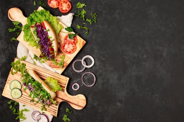 Cadre de vue de dessus des aliments sains avec copie-espace