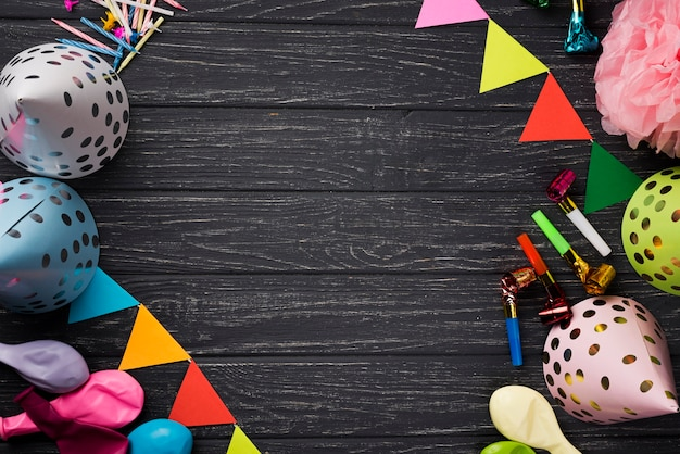 Cadre vue de dessus avec des décorations de fête