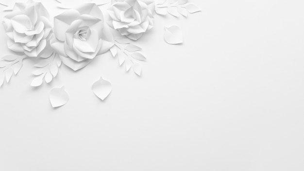 Cadre vue de dessus avec des fleurs blanches et fond